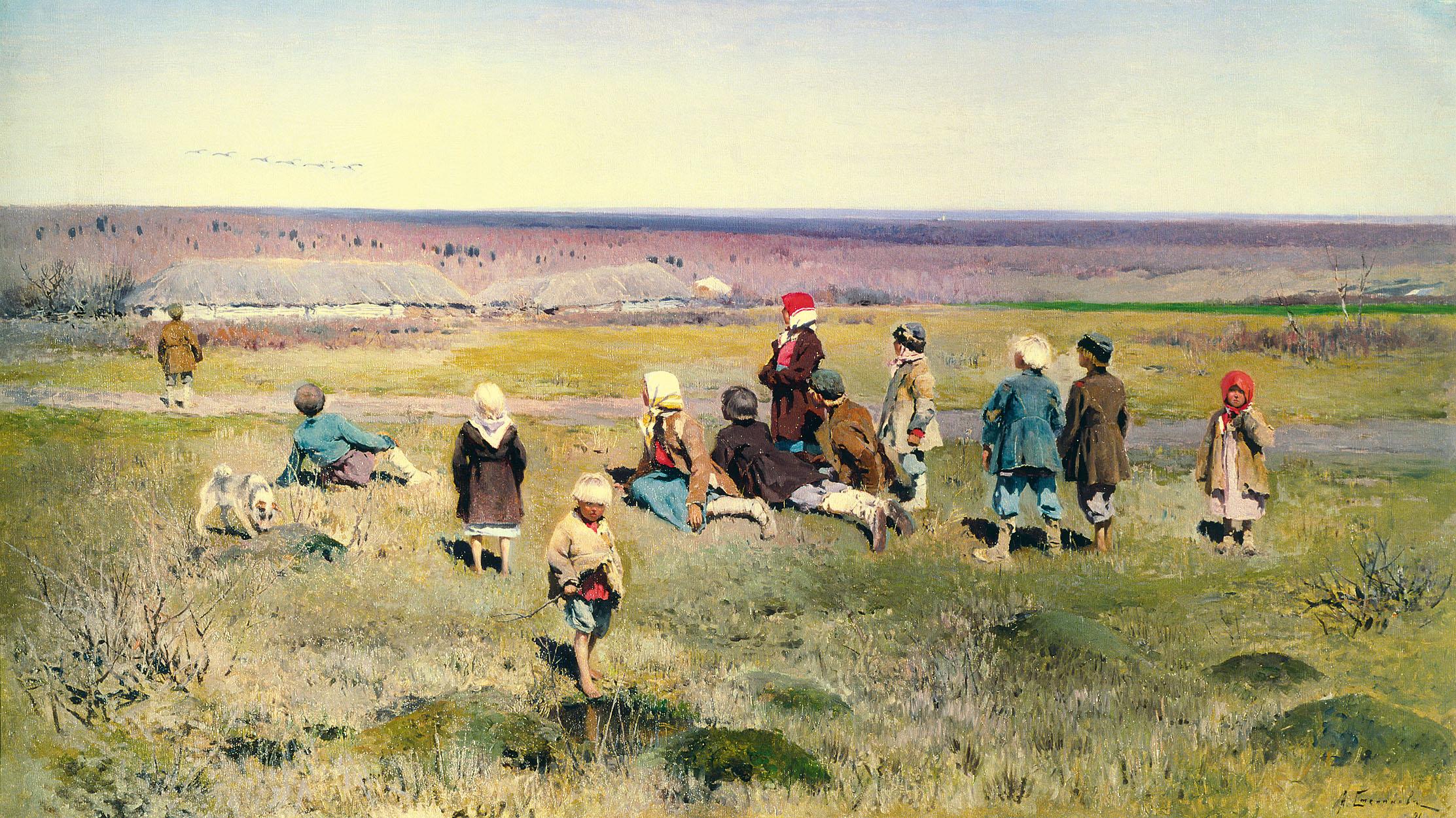 Алексей Степанович Степанов ''Журавли летят'' 1891